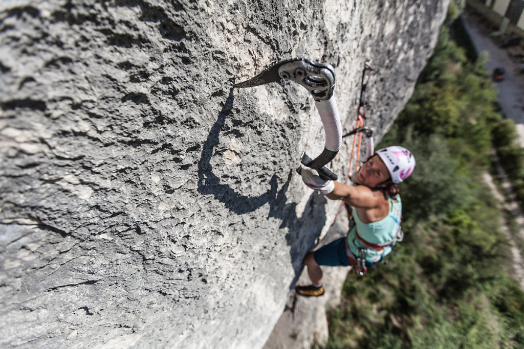Dry tooling move. Mouvement de dry tooling.
